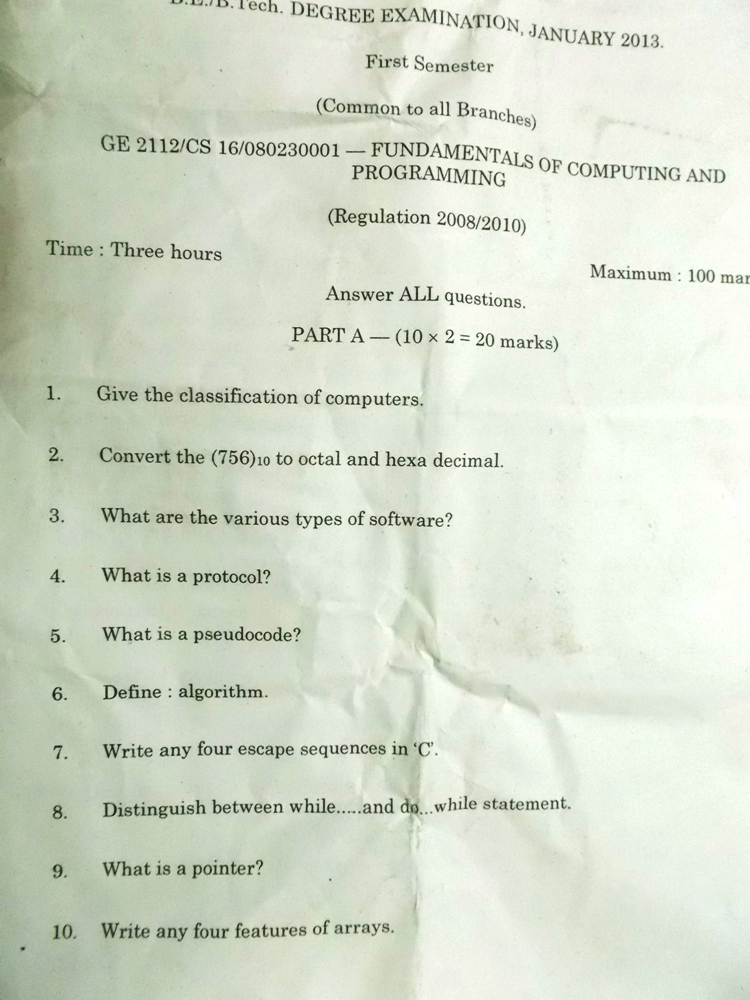 Anna University Fundamentals of computing GE2112 January 2013 question paper download and Review