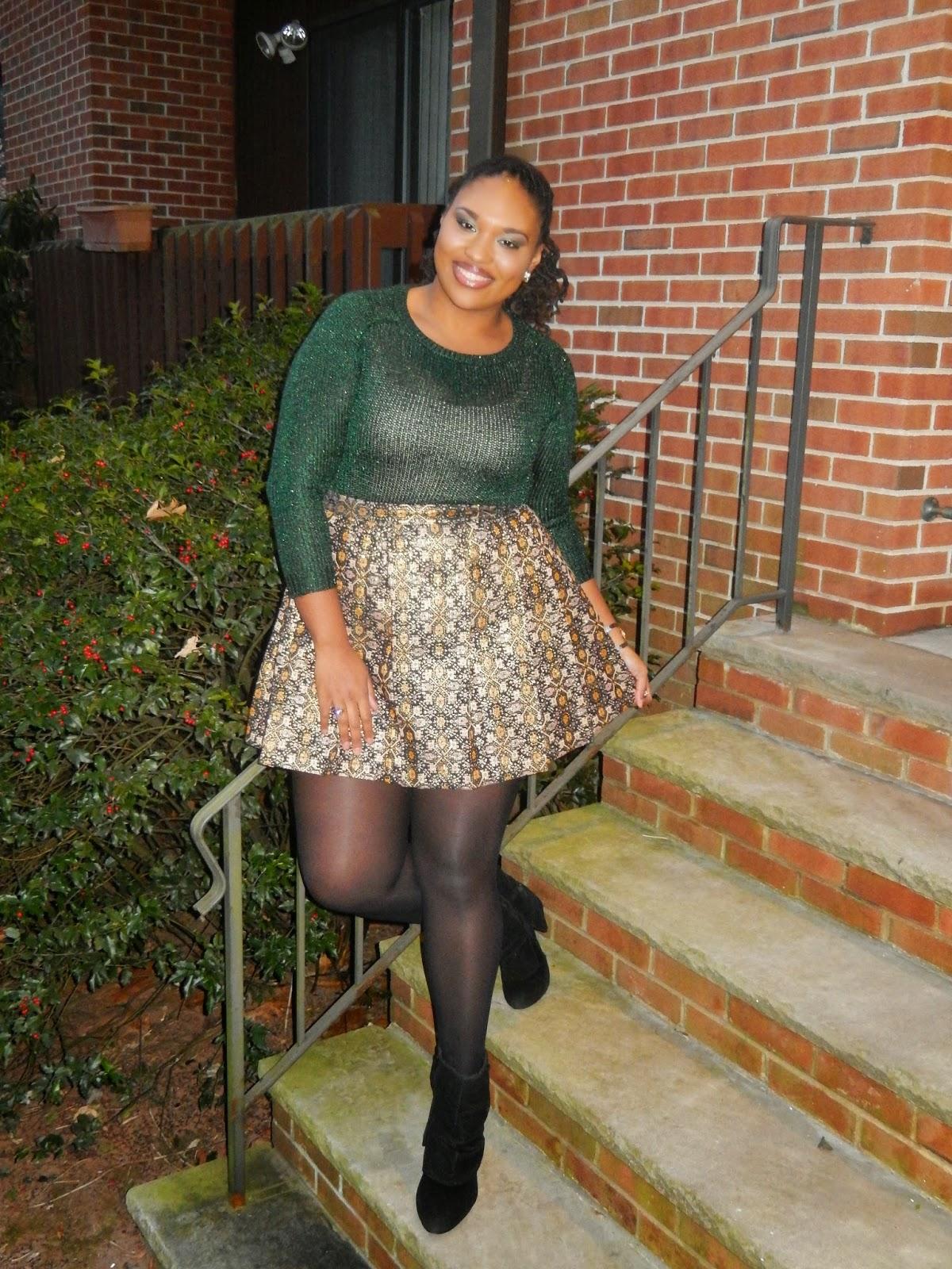 Jewel Tone Skater Skirt for Christmas- A Thick Girl's Closet