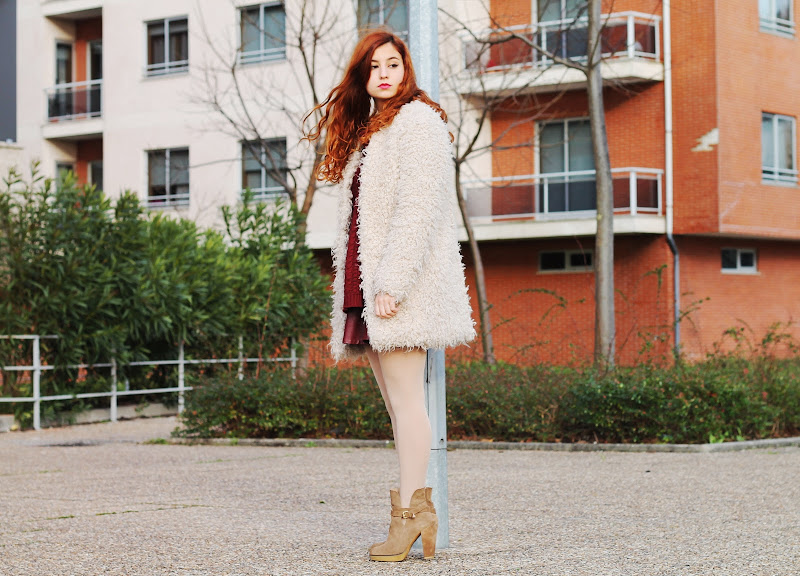 street style furry coat from Zara and oxblood