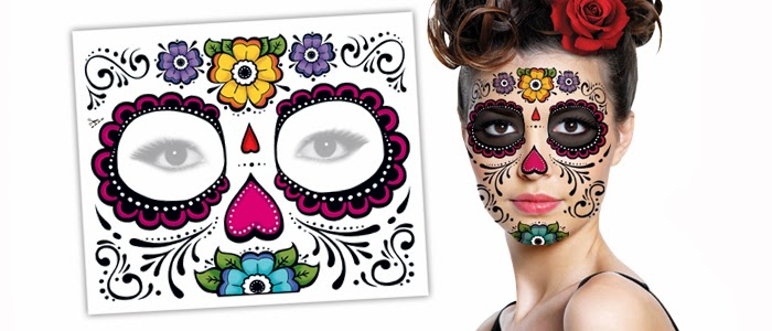 old fashion halloween day of the dead temporary tattoos