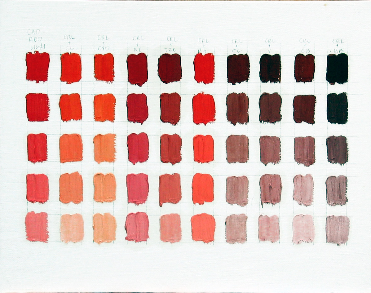 Katherine mcguire artist oil paintings of california color charts cadmium red light color chart nvjuhfo Image collections