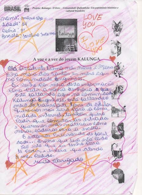 Alunos Quilombolas escrevem cartas para Presidente Dilma Rousseff.