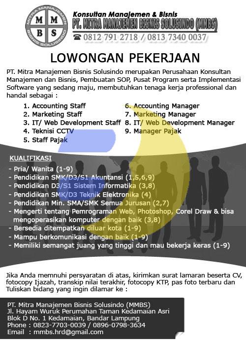 Lowongan Kerja PT. Mitra Manajemen Bisnis Solusindo