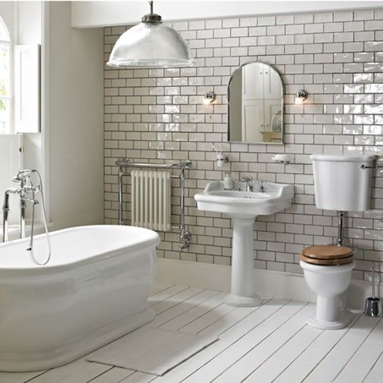 or maybe a wood look tile - Cottage Bathroom