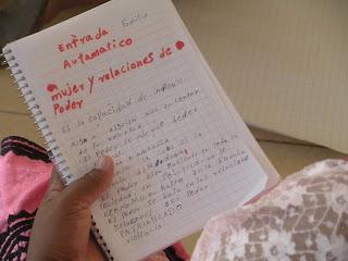 Notas tomadas por una compañera participante