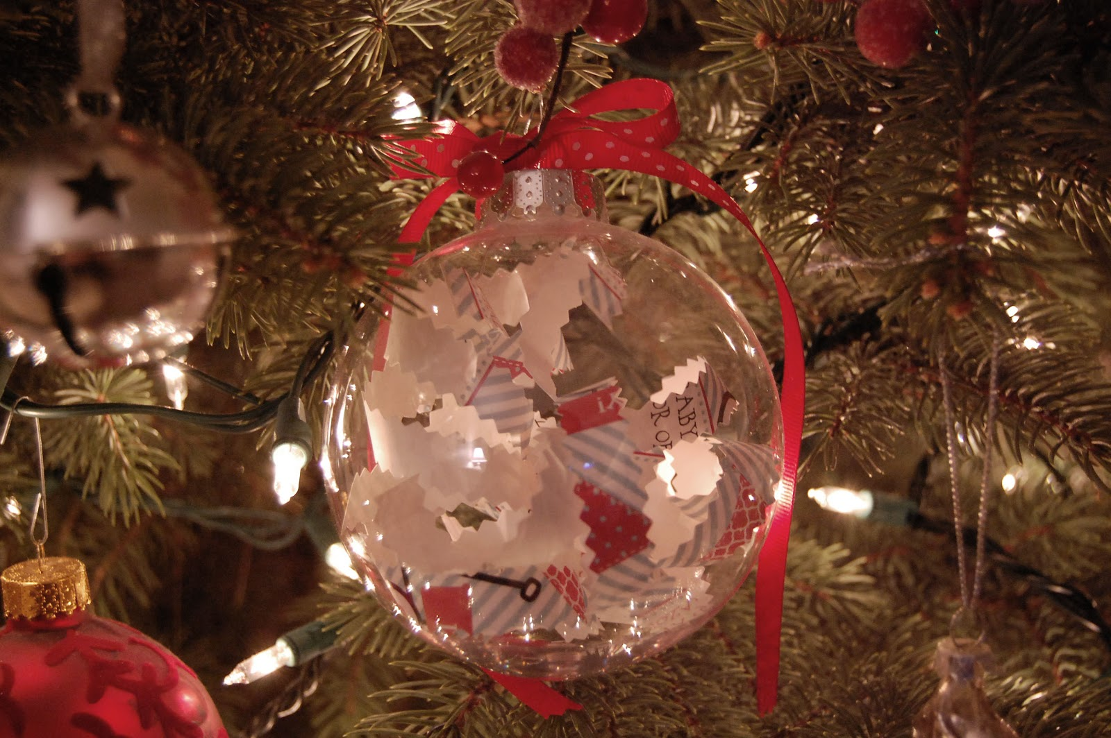 New baby christmas ornament - A Dear Friend Of Mine Made This Ornament Out Of The Invitation To My Baby Shower So Cute