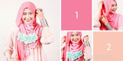 Cara Memakai Jilbab Segi Empat Dua Warna