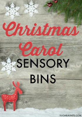Christmas Carol sensory bin ideas for play and learning along to popular Christmas carols.  Perfect for kids and family sensory play or even Advent activities.