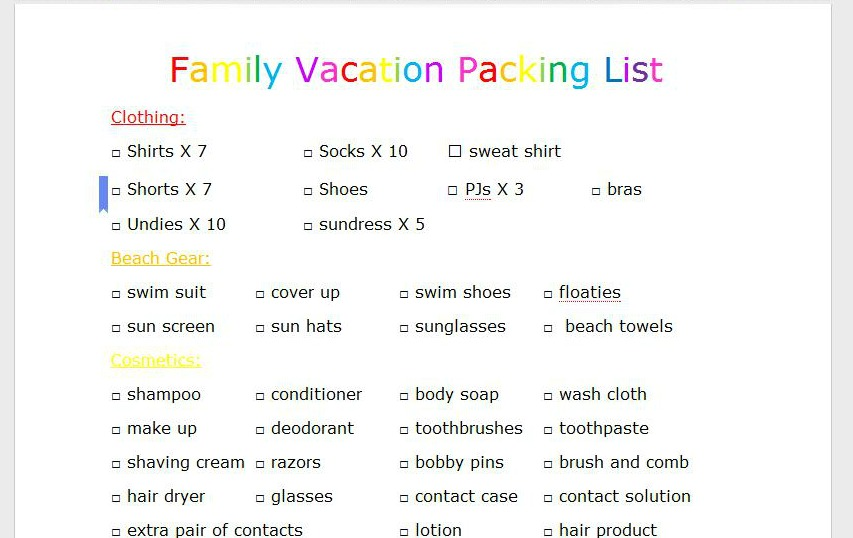 Family Vacation Packing List Travel Printable Organization