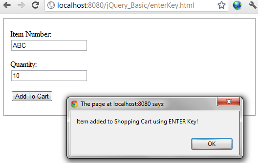 jQuery ENTER key example