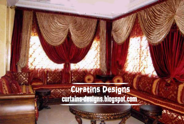 Dream Beige curtain with red curtain scarf design