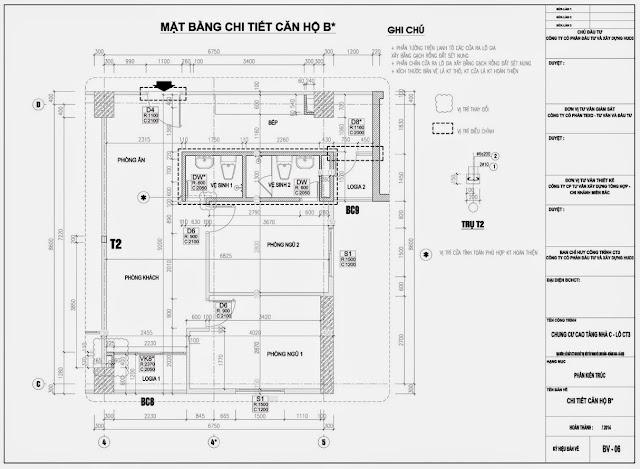 Mặt bằng căn hộ B* Chung Cư CT3 Tây Nam Linh Đàm