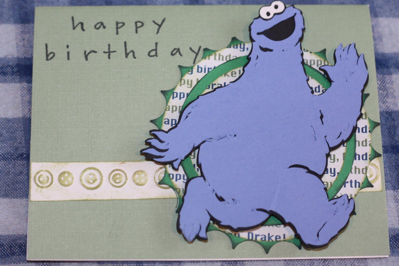June scraps cookie monster birthday card cookie monster birthday card bookmarktalkfo Choice Image