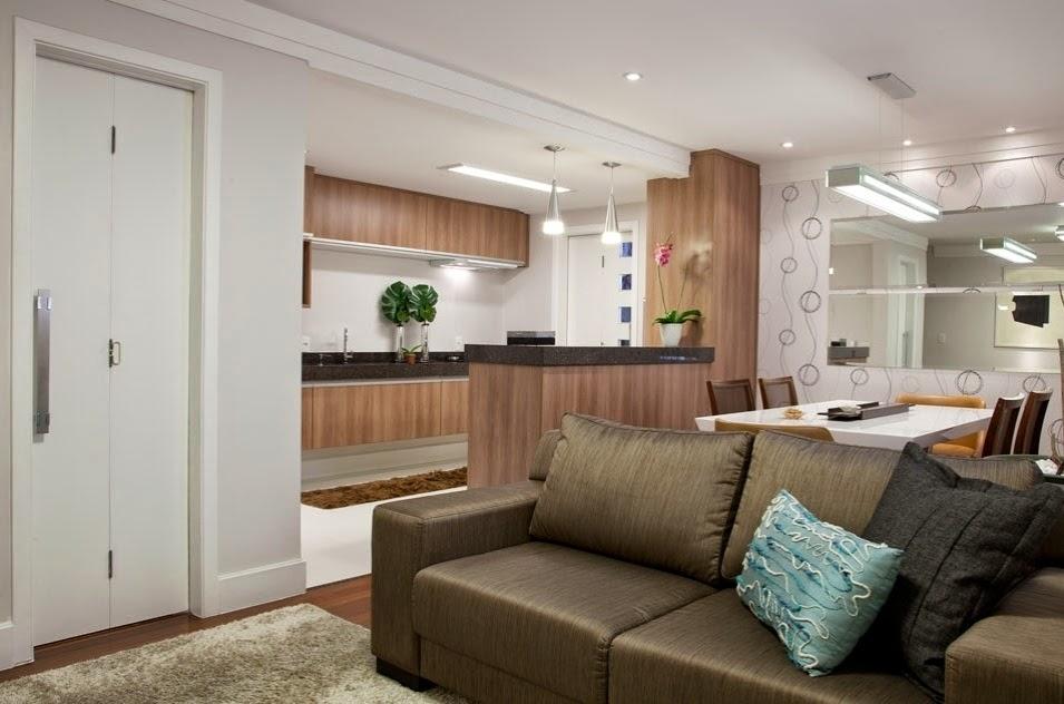 Sala Pequena Integrada Com Cozinha ~ 20 Cozinhas e salas integradas e pequenas – veja ótimas ideias para