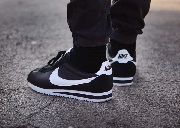 black and white nike cortez