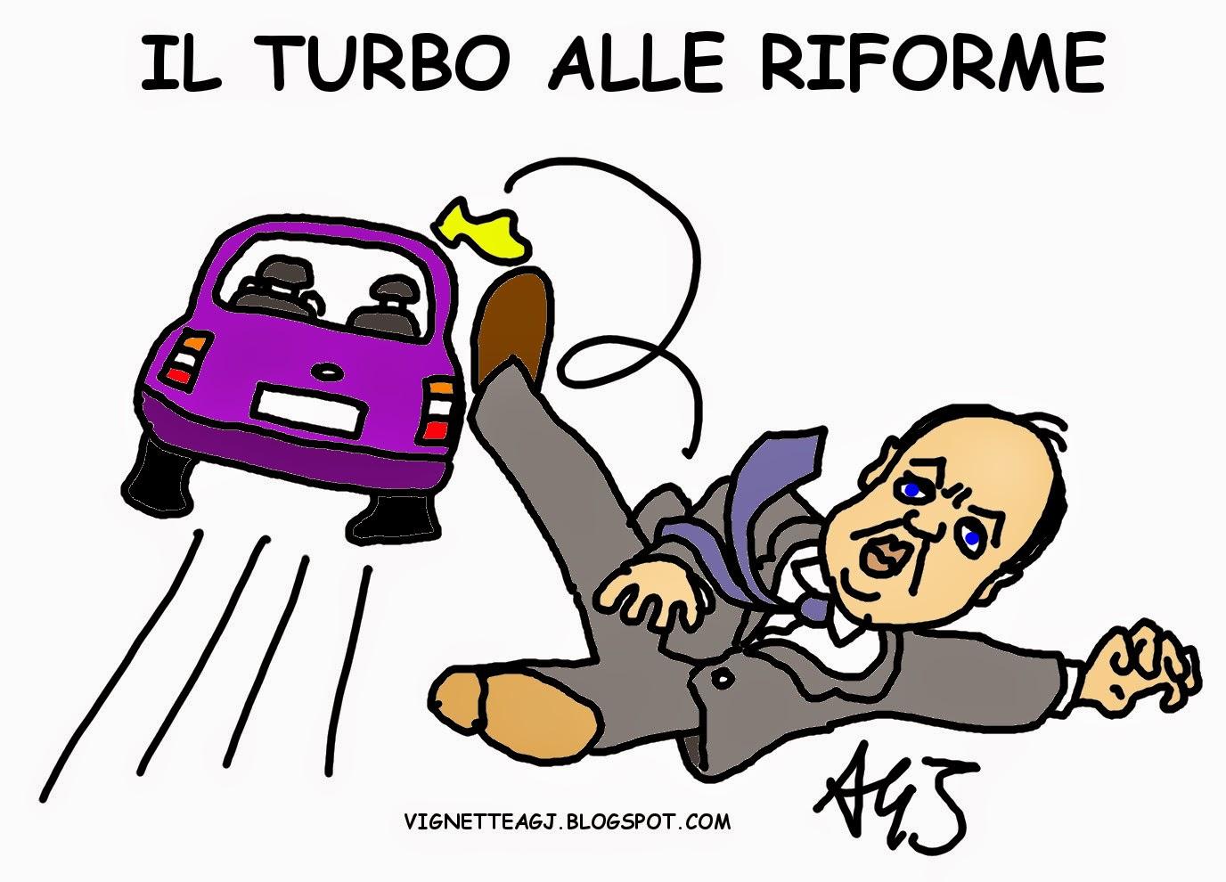Alfano, Renzi, riforme, partitini satira vignetta