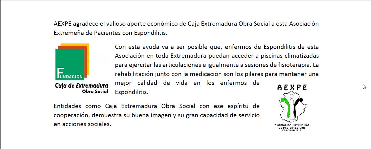 AEXPE agradece el valioso aporte económico de Caja Extremadura Obra Social a esta Asociación