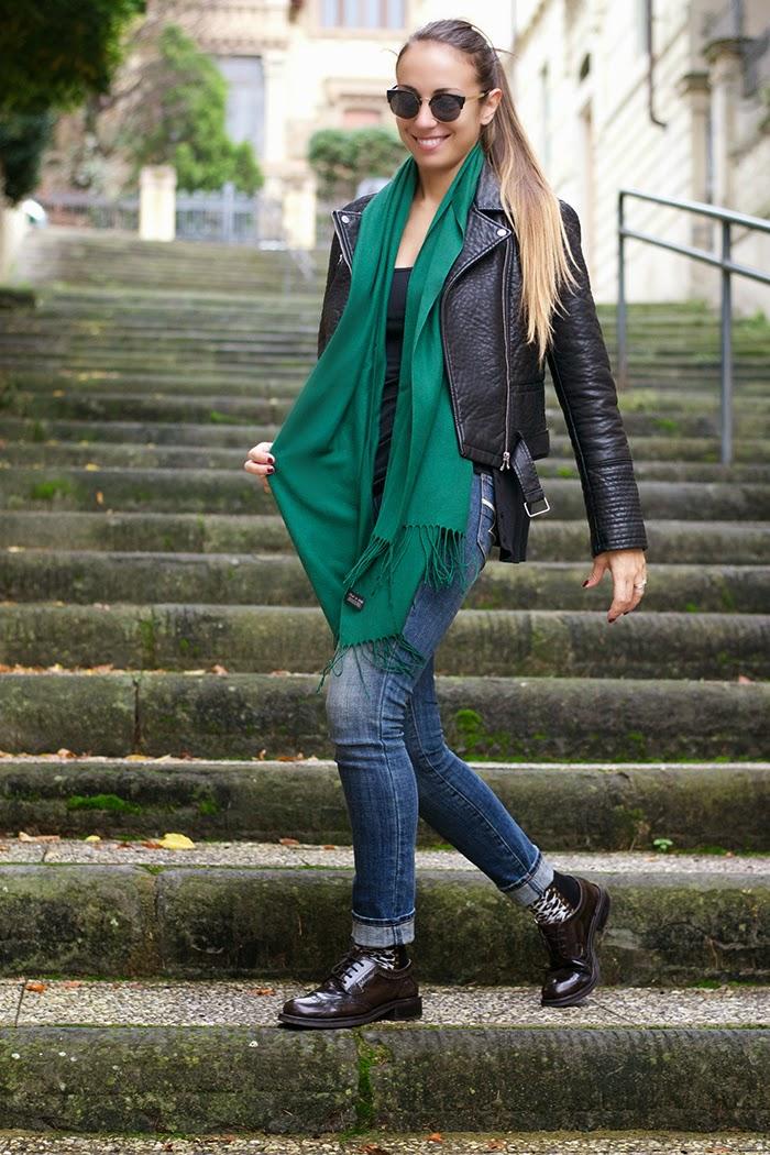 pashmina verde smeraldo