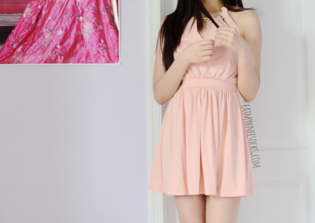 More photos of the cute pink halter dress from WalkTrendy.