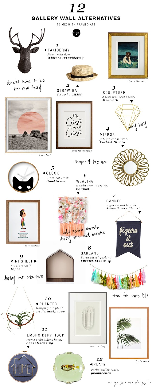 12 alternative items to hang on a gallery art wall | My Paradissi