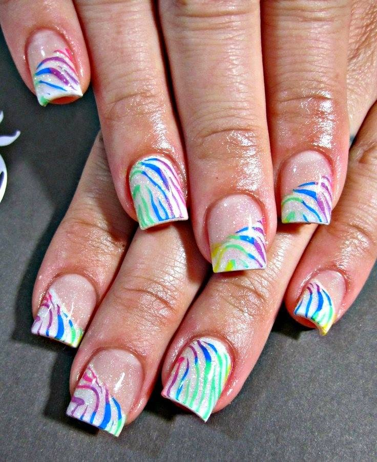 Colorful-zebra-gel-color-overlay-acrylics-mixed-chevron-and-full-cover-white-striped-out-in-2color-gel-striping