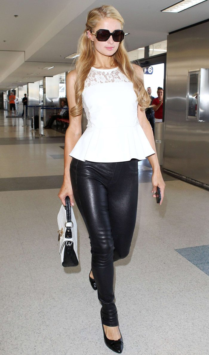 Paris Hilton in Leather Pants, Arriving at LAX Airport in Los Angeles