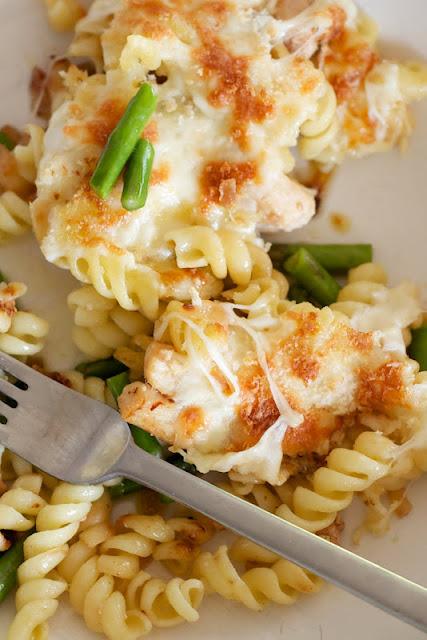 Riches to Rags* by Dori: Mozzarella, Chicken & Asparagus Pasta Bake