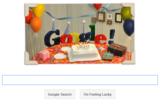 Google Doodle: 13th birthday cake for search engine, 14th, Google Search, Google Doodle