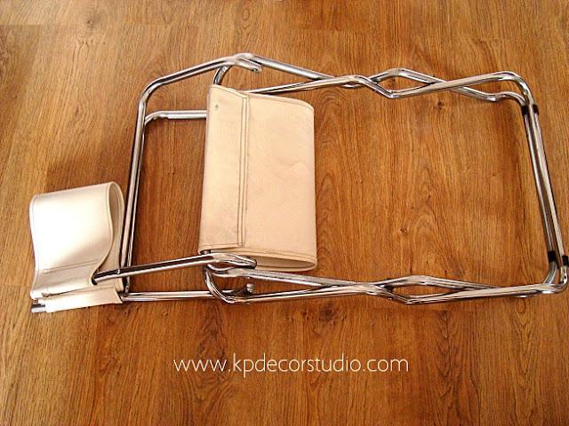 Sillas vintage plegables de metal cromado y skay años 70 retro