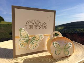 Geburtstag, Karte, Watercolor Wings, Framelits Formen Schmetterling, Thintits Schmetterlinge, Pergament, dreifach einstellbare Fähnchenstanze, Geburtstagsgrüße für alle, Zierschachtel für Andenken, Stampin'Up!