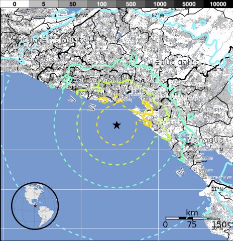 Epicentro sismo El Salvador, 13 de Octubre 2014