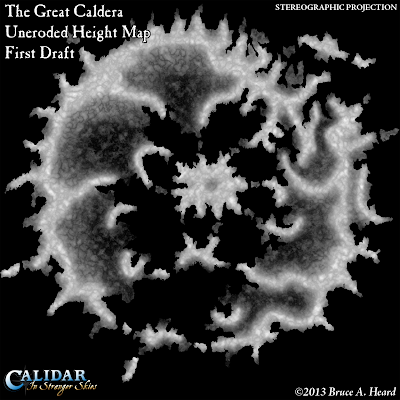 Great Caldera, Calidar, uneroded height map, Stereographic Projection