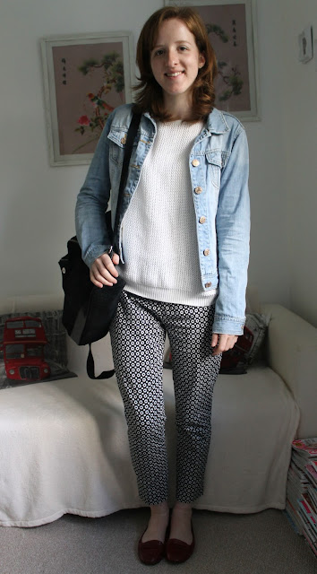 OOTD Primark Daisy Print Trousers Red Shoes White Jumper Denim Jacket Black Backpack ASOS