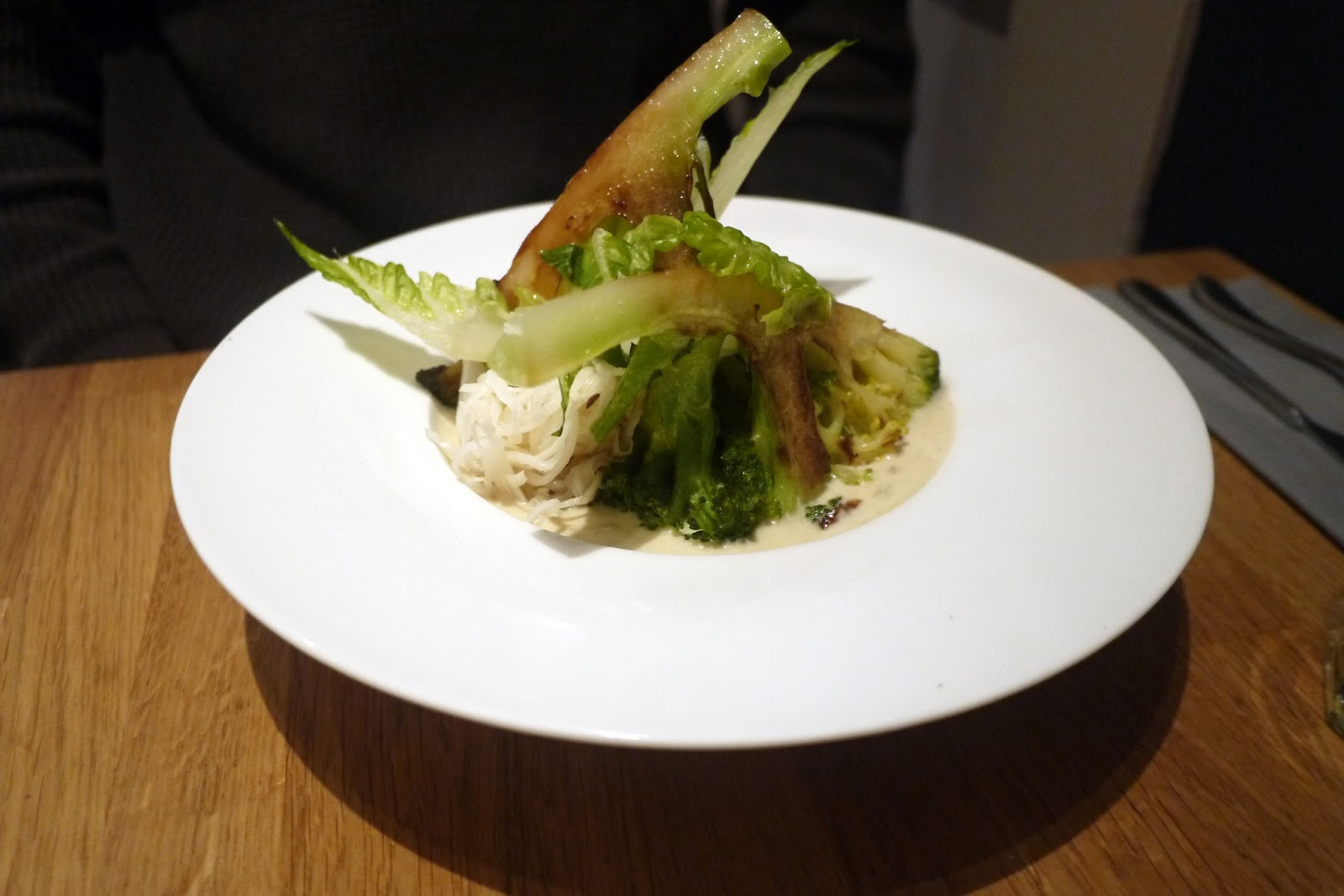 Mr Hef Had Calabrese Broccoli U0026 Confit Jersey Royals With Spelt Grain  Warmed In A Smoked Almond And Olive Oil Emulsion, Lovage And Pickled  Cabbage, ...