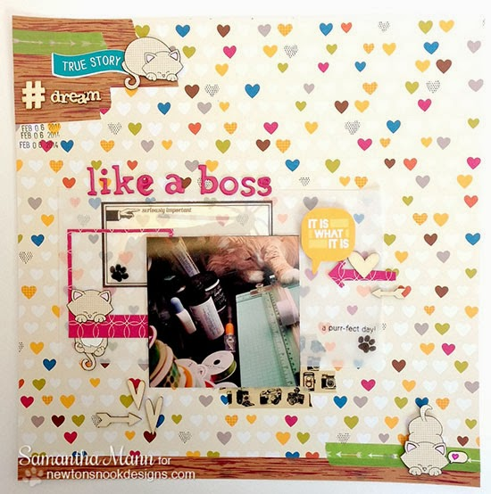 Kitty Scrapbook page by Samantha Mann using Newton's Nook Designs Stamps