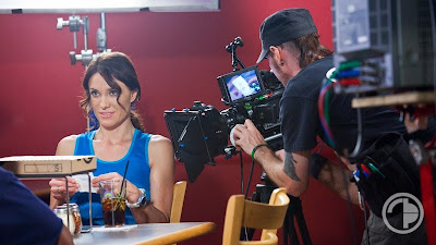 Actress Rebecca St. James on the set of 'A Strange Brand of Happy'