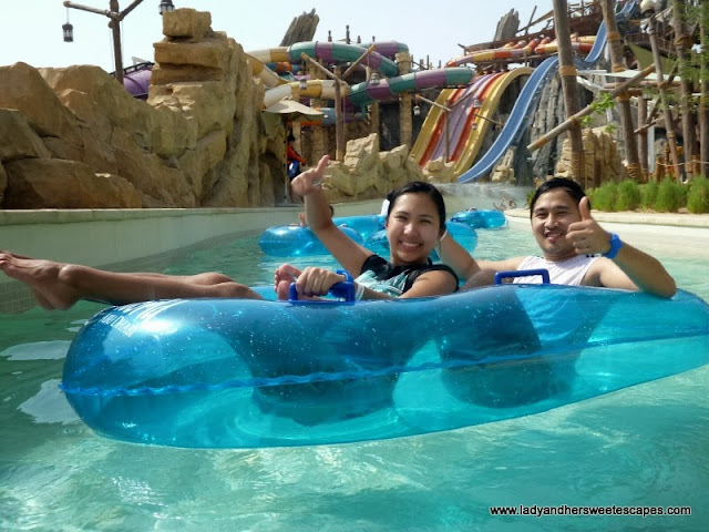 Lady and Ed at Yas Waterworld's Lazy River
