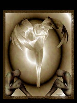 Imagen astracta de un ángel. A sus pies y a ambos lados dos figuras sentadas frente a frente.