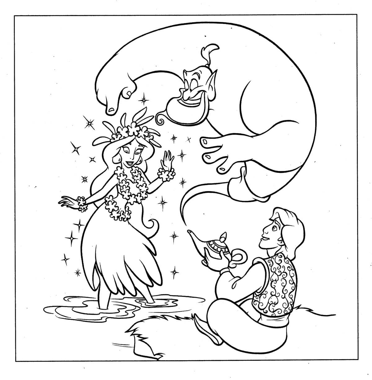 Disney Cartoon Coloring Pages Princess Jasmine And Aladdin