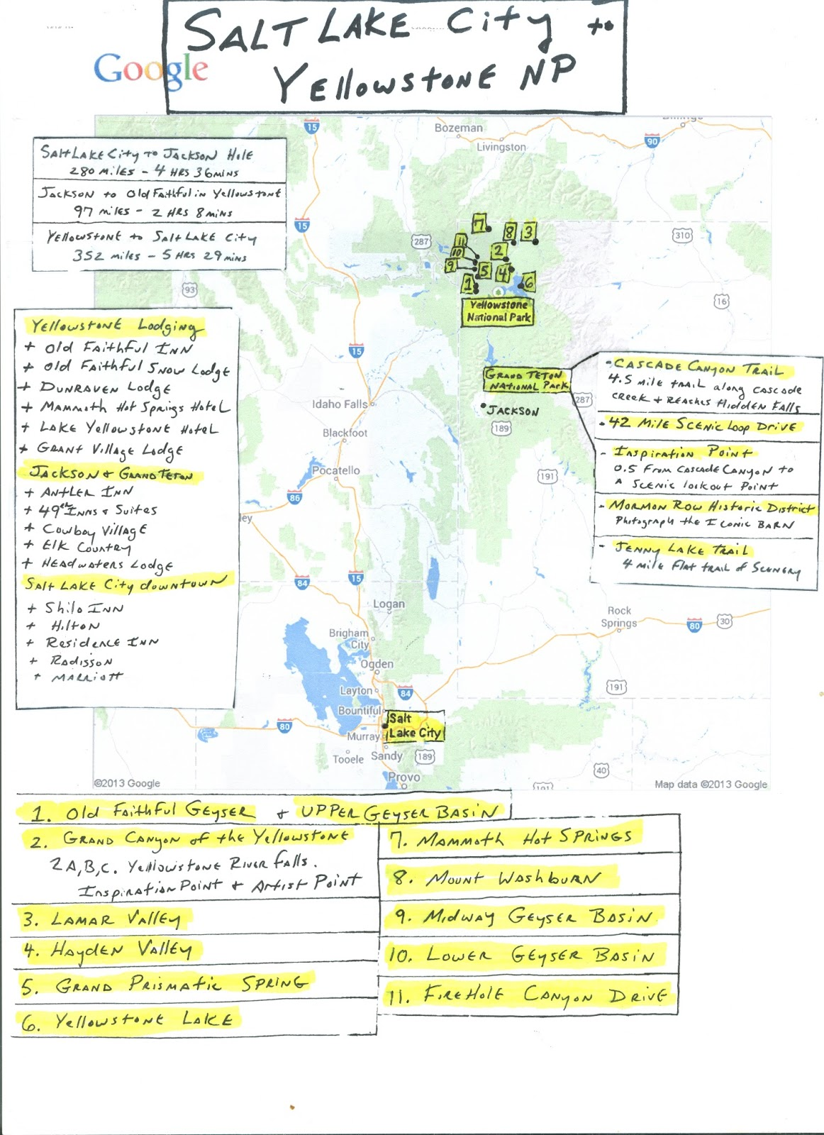 and descriptions but made sure to include mileage and highlights i look forward to visiting the united states first and most famous national park