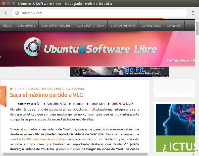 Ubuntu 14.10 viene con dos navegadores por defecto, navegador ubuntu,