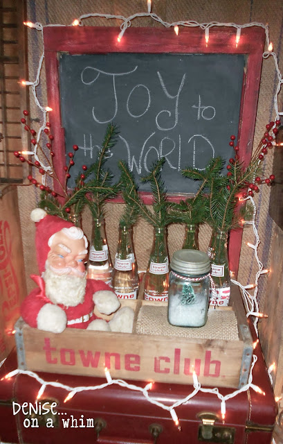 Vintage Santa and an old soda crate via http://deniseonawhim.blogspot.com
