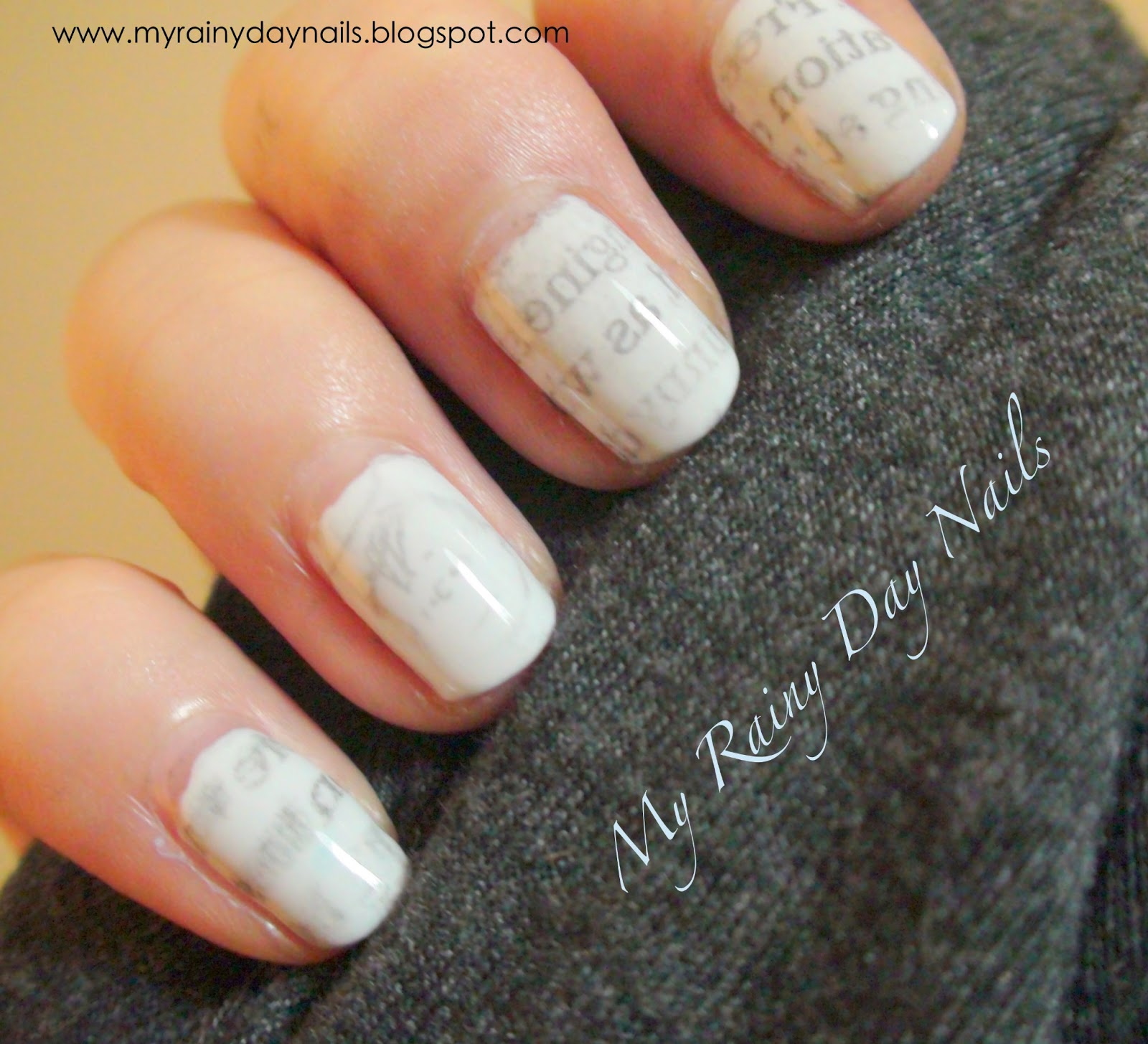 My Rainy Day Nails: Sunday Nail Art-Newspaper nails