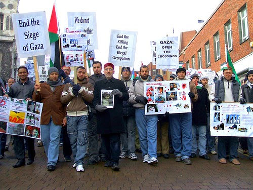 Demonstration through Norwich City Centre (UK) against the Israeli massacres of Palestinians in Gaza -  January 10, 2009. (Photo by Roger Blackwell)