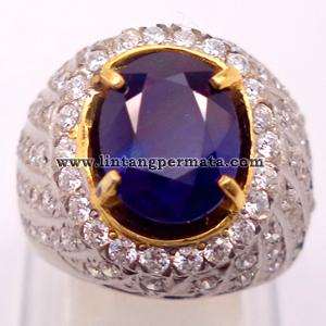 Batu Permata Blue Sapphire Cincin Safir