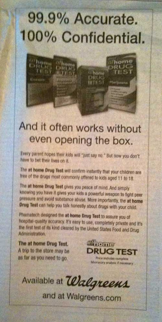 Black and white Walgreen's ad witih headline 99.9% accurate. 100% confidential. Subhead reads And it often works without even opening the box