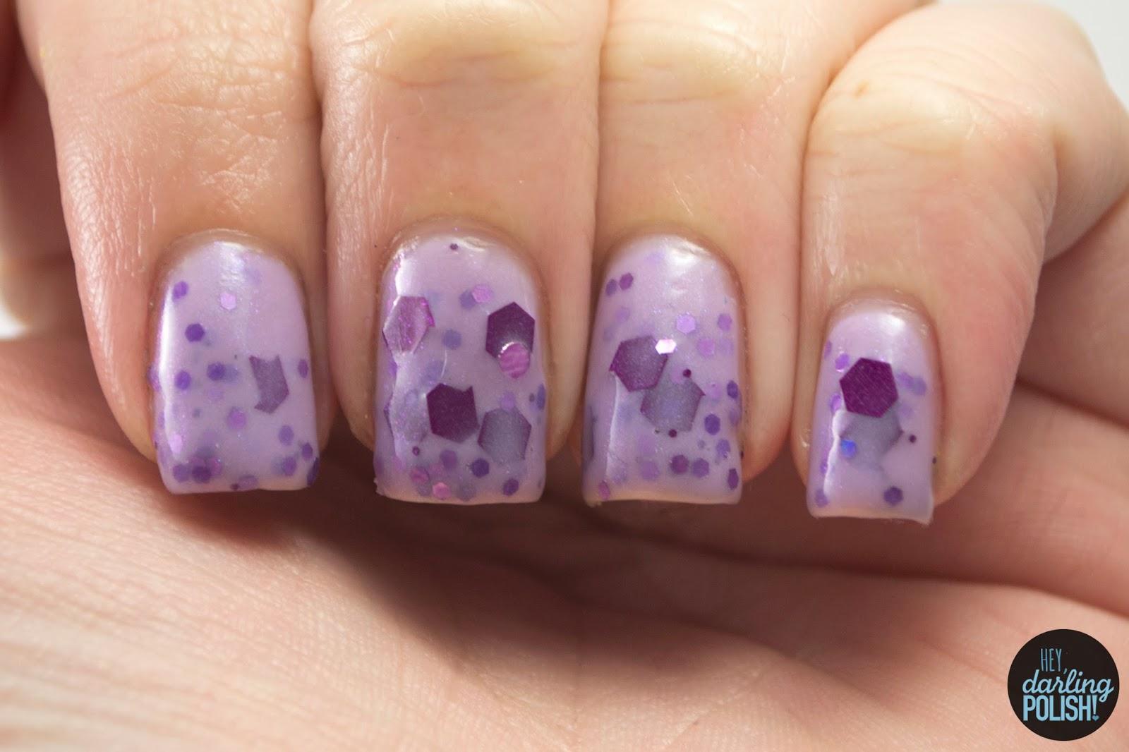 glitter, nails, nail polish, polish, indie, indie nail polish, indie polish, hey darling polish, squishy face polish, bed peace, purple