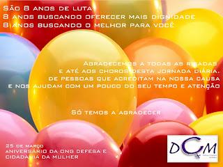 25 de maio: 8 anos de ONG Defesa e Cidadania da Mulher!