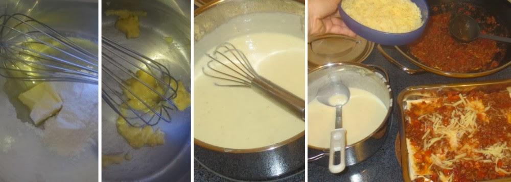 Zubereitung Béchamel und Schichten der Lasagne