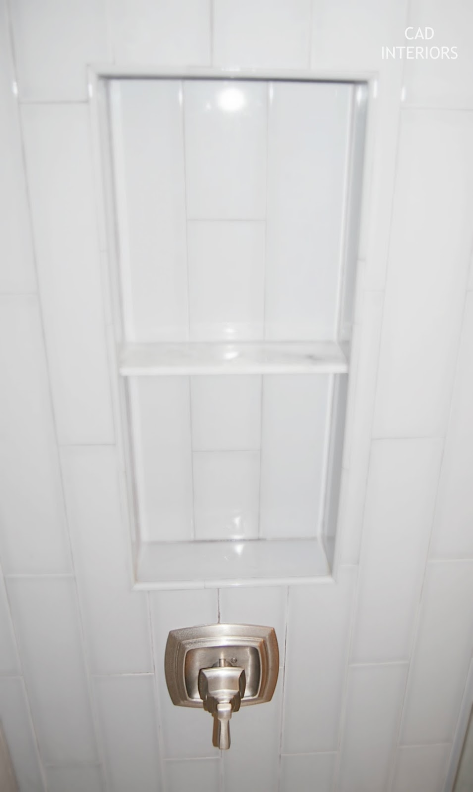 Cad interiors affordable stylish interiors cad interiors main bathroom renovation 4x16 denim porcelain tile vertical subway pattern brushed nickel bath fixtures dailygadgetfo Images